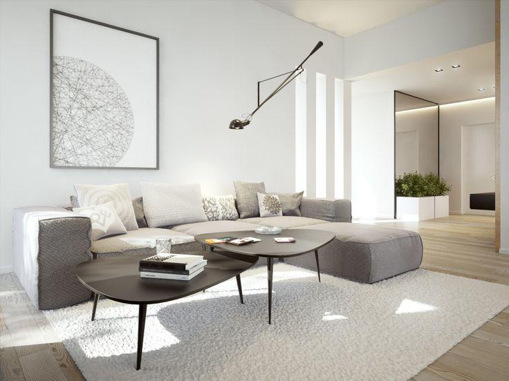 Czarne stoliki kawiarniane o opływowym kształcie w nowoczesnym salonie