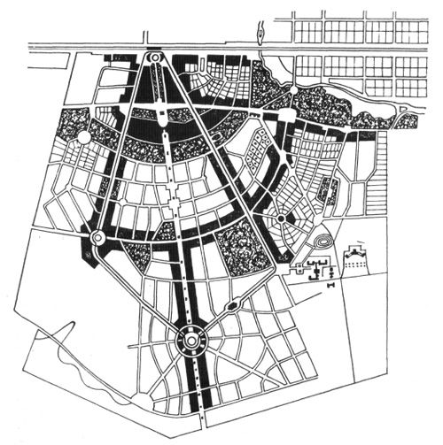 В. Н. Семенов. Проект города-сада на станции Прозоровская под Москвой. Генеральный план. 1912