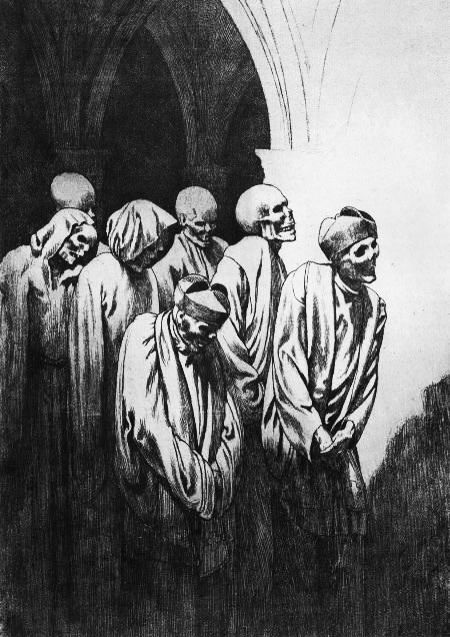 Valère Bernard  (1860 - 1936) - Les revenants ou L' office des morts - gravure  1906