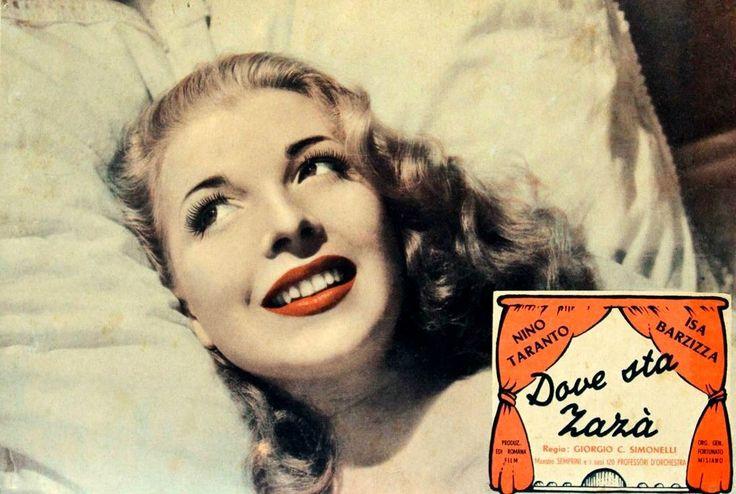 """Isa Barzizza. Lobby card for Giorgio Simonelli's revue comedy """"Dove sta Zazà"""" (Italian title: """"Where Is Zazà"""", 1947)."""