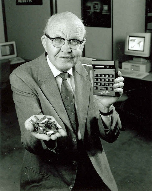 The Microchip co-invented by Jack Kilby of Texas Instruments (pictured) and Robert Noyce of Fairchild Semiconductors.