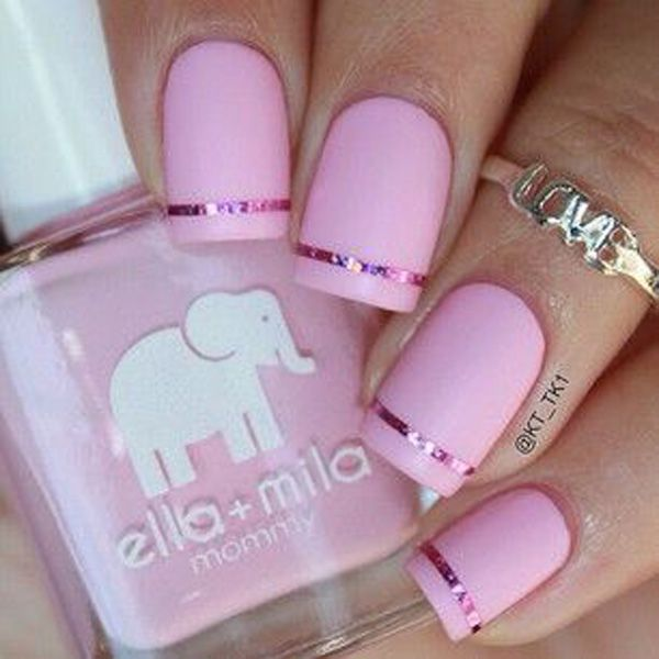 Coat your nails in baby pink matte color and add a simple strip of pink metallic foil for detail.