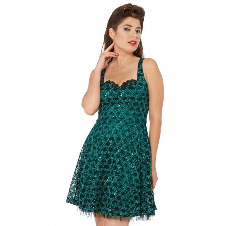 Voodoo Vixen Jasmin pailletten jurk met schubben patroon groen | Attit