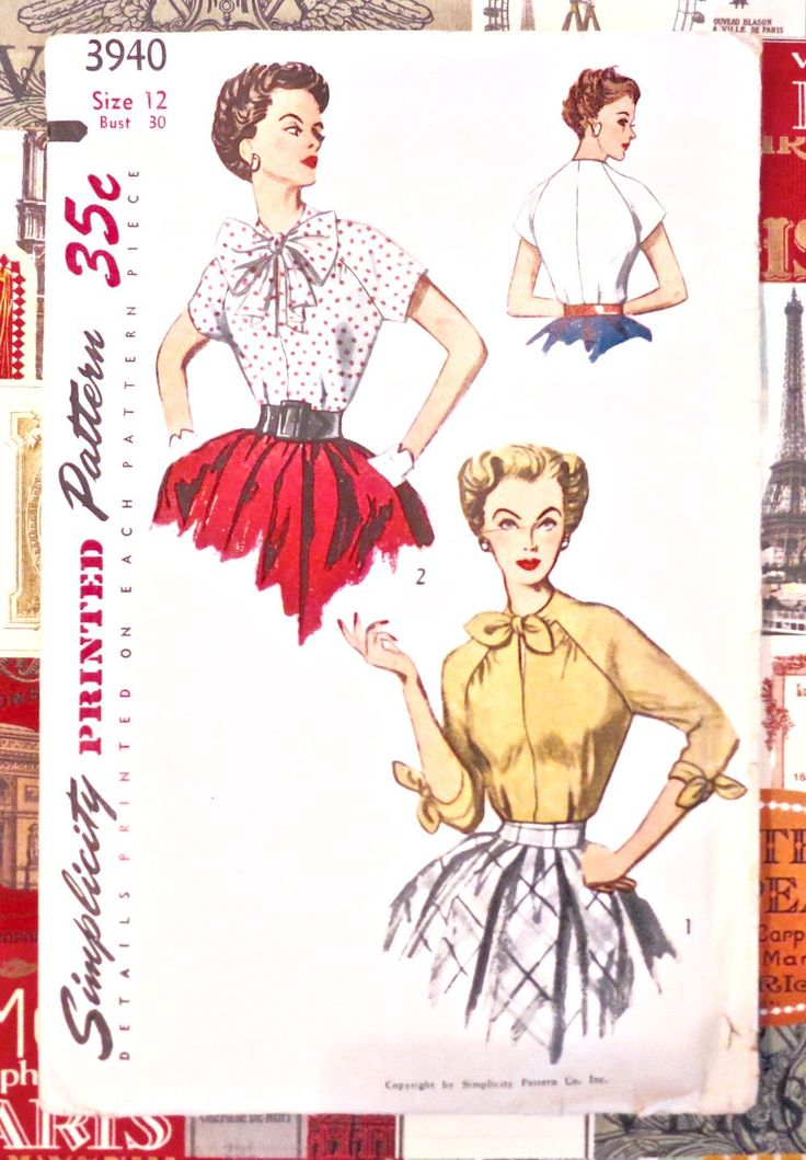 Vintage 1950s Womens Blouse Pattern with Tie Collar - Simplicity 3940 by Fragolina on Etsy https://www.etsy.com/listing/253246689/vintage-1950s-womens-blouse-pattern-with