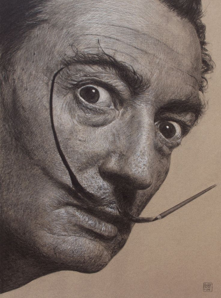charcoal drawing - portrait Salvador Dali