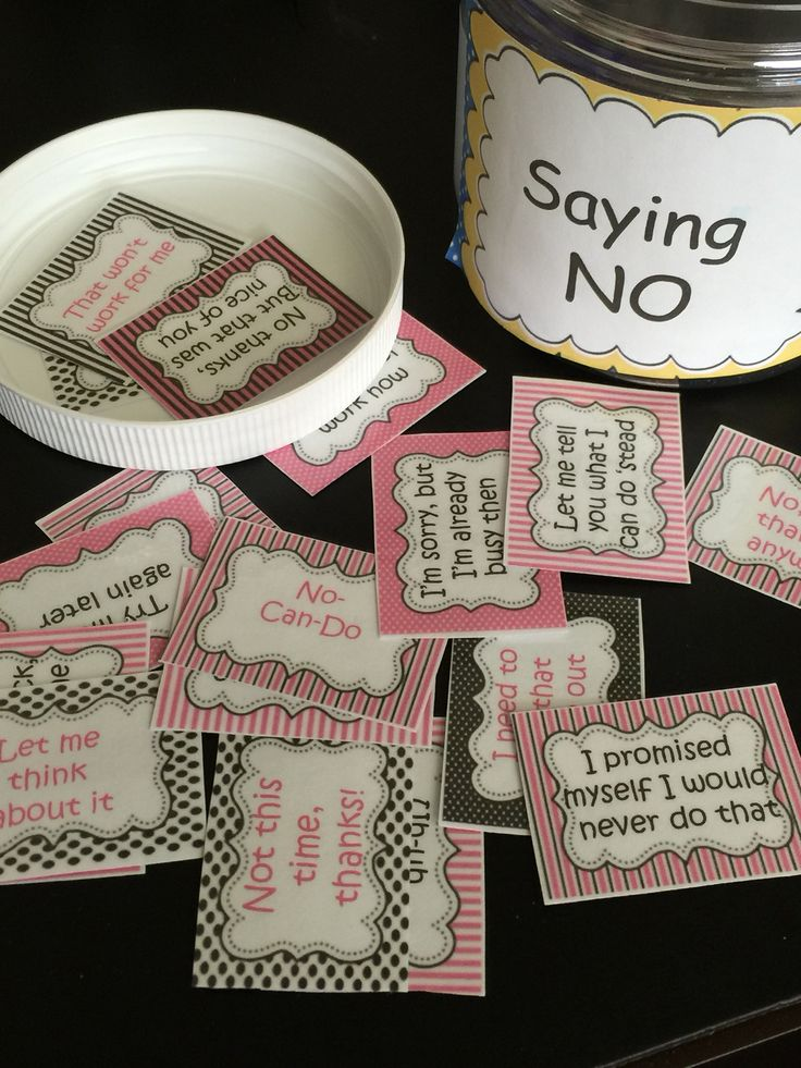 Saying No Politely Cards to help set boundaries in groups, class, or proactive assertiveness skills training.