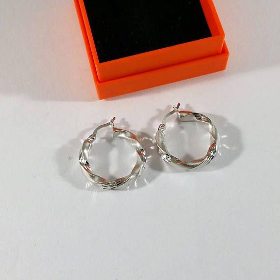 Ohrringe Creolen Silber 925 diamantierter Schliff edel SO276