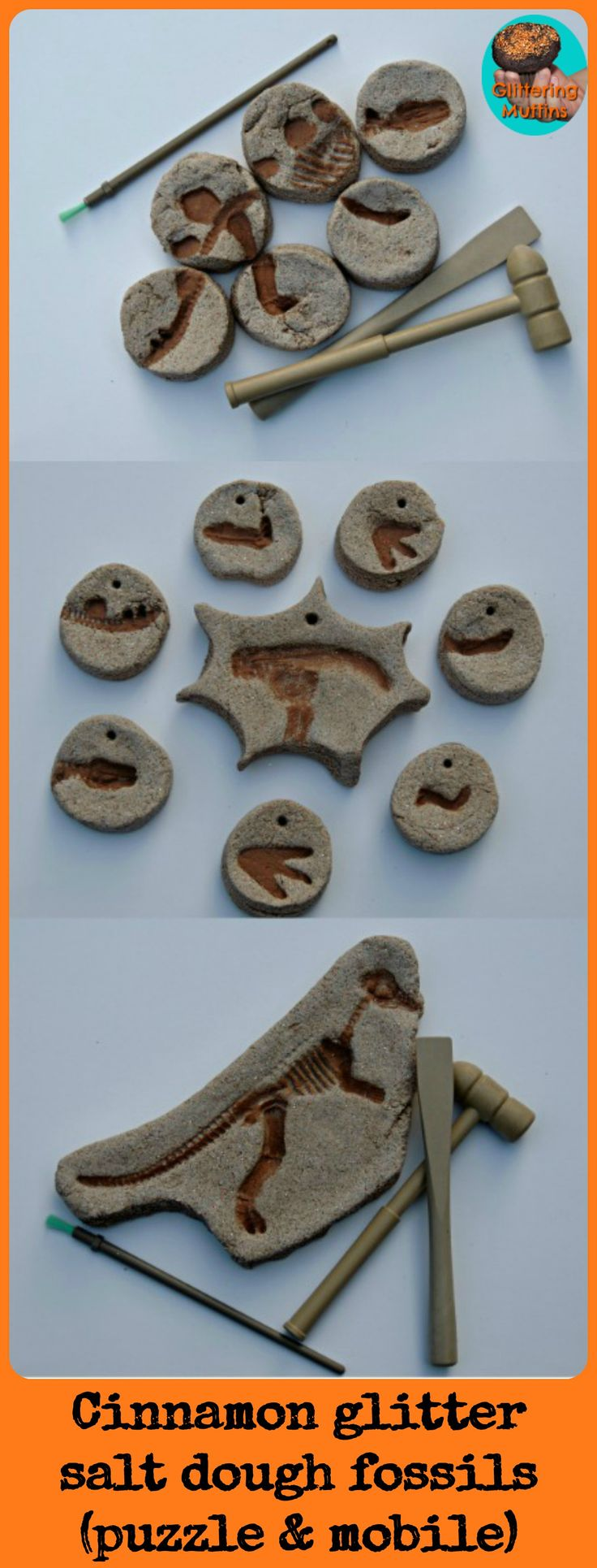 Cinnamon glitter salt dough fossils (puzzle & mobile)