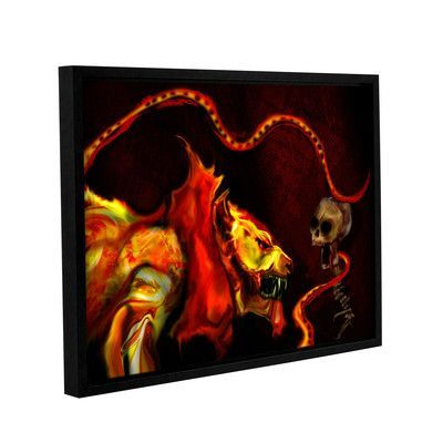"""ArtWall Shadow Of The Beast by Michael L Stewart Framed Graphic Art on Wrapped Canvas Size: 8"""" H 10"""" W"""
