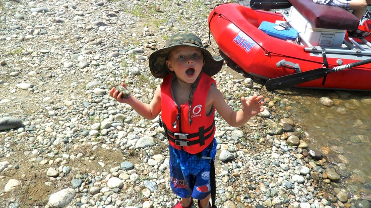 Raider on his first rafting trip