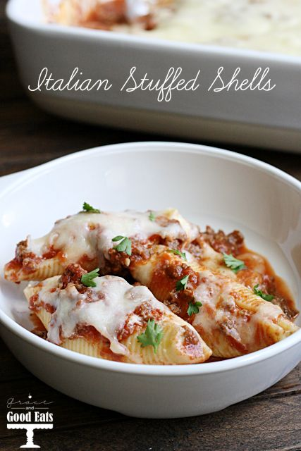 Italian Stuffed Shells- an easy weeknight meal that's sure to impress!