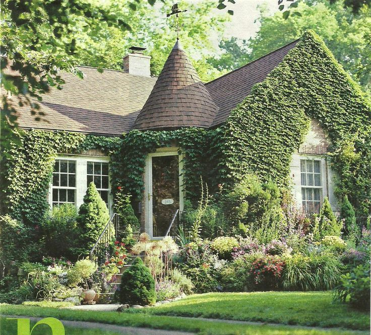 Ivy-covered cottage with a turret