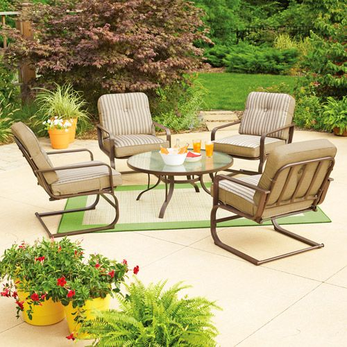 Mainstays Lawson Ridge 5 Piece Patio Conversation Set Tan