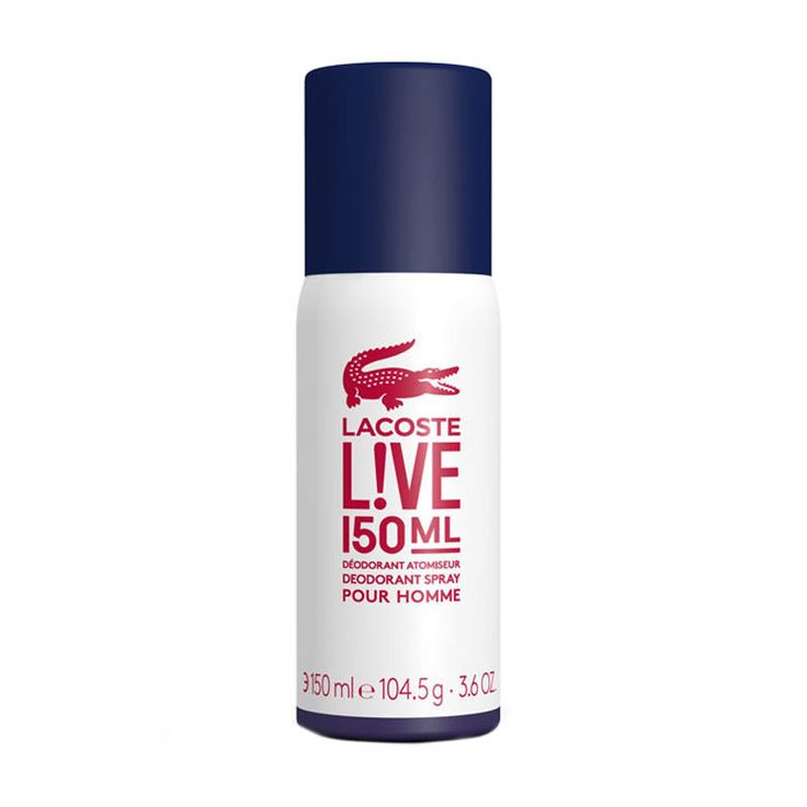 Lacoste Live Male Deodorant Spray 150ml 0053671 Inspired by the fresh scent of Lacoste L!ve Pour Homme, Lacoste L!ve Pour Homme Deodorant Spray is the best way to stay invigorated throughout the day. Lightly scented with the Lacoste L!ve fragrance  http://www.MightGet.com/may-2017-1/lacoste-live-male-deodorant-spray-150ml-0053671.asp