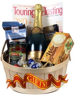 Celebration Wine Gift Basket! One bottle of sparkling wine,  Jean Phillipe 2010 Cuvee Brut and assorted goodies sure to please any wine and food lover!