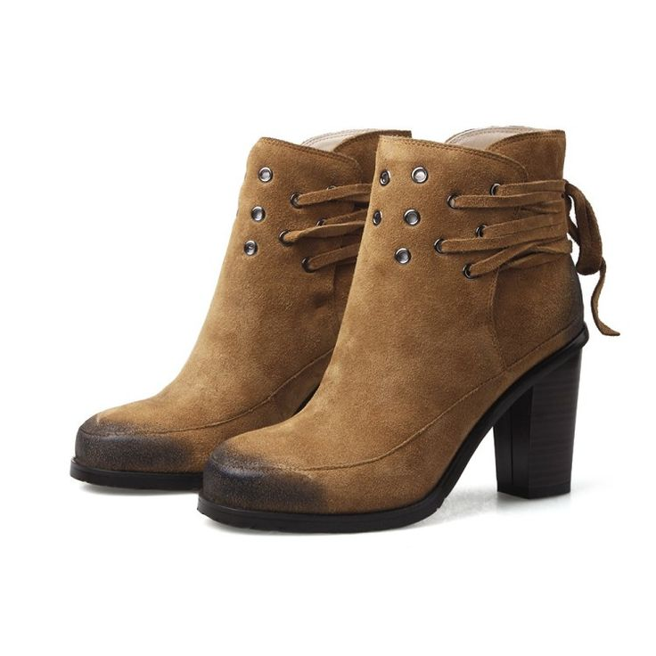 Boots - Brown Motorcycle with ankle laces Ankle Boots