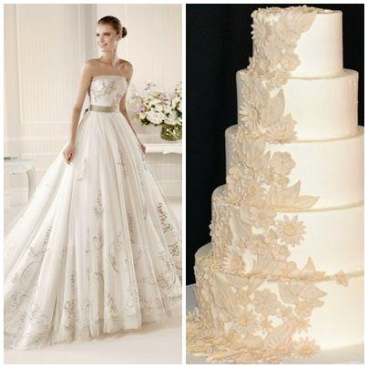 La Sposa trouwjurk met bruidstaart combinatie van www.honeymoonshop.nl