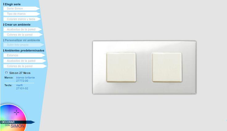 Mecanismo serie Simón 27, composicion en blanco brillo y marfil