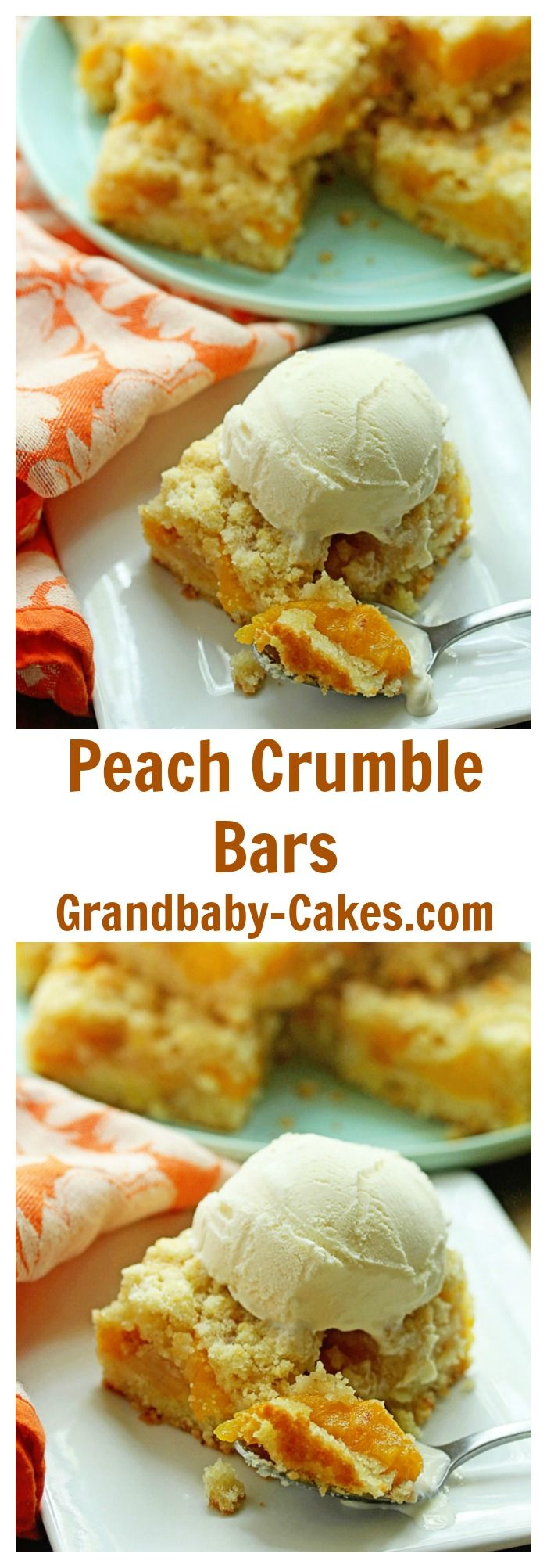 The MOST Delicious and Perfect Peach Crumble Bars EVER!  | Grandbaby-Cakes.com