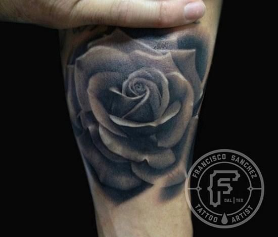 white and black rose tattoos - Google Search