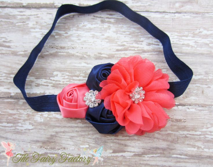 Navy Blue and Coral Headband, Satin & Chiffon Flowers w/ Crystals Headband or Hair Clip, Flower Girl Headband, Wedding, Child Girls Headband by TheFairyFactoryShop on Etsy https://www.etsy.com/listing/243497666/navy-blue-and-coral-headband-satin