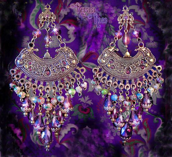 5 Large Exotic Amethyst Purple Crystal Cloisonne Gypsy Chandelier Earrings Ethnic Extravagant Jewelry