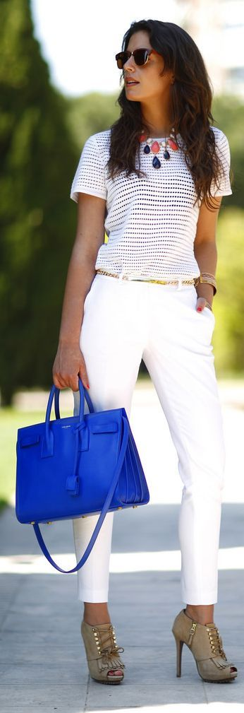 White Outfit Royal Blue Tote by 1sillaparamibolso