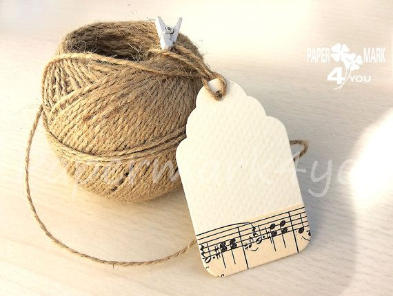 100 Scallop Tag Music Theme Wedding 3x2 inch by PaperMark4You