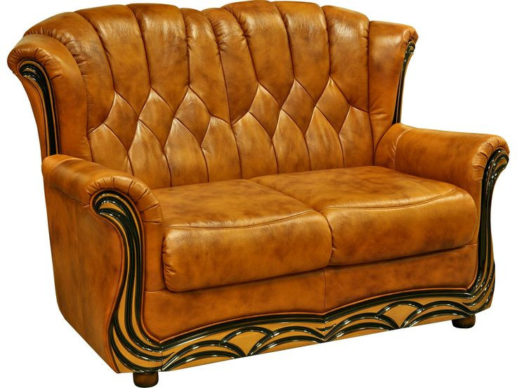 Leather classic design sofa (with sleeping system)