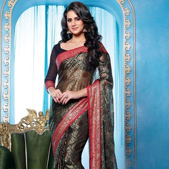 Black Faux Georgette Brasso Saree with Blouse