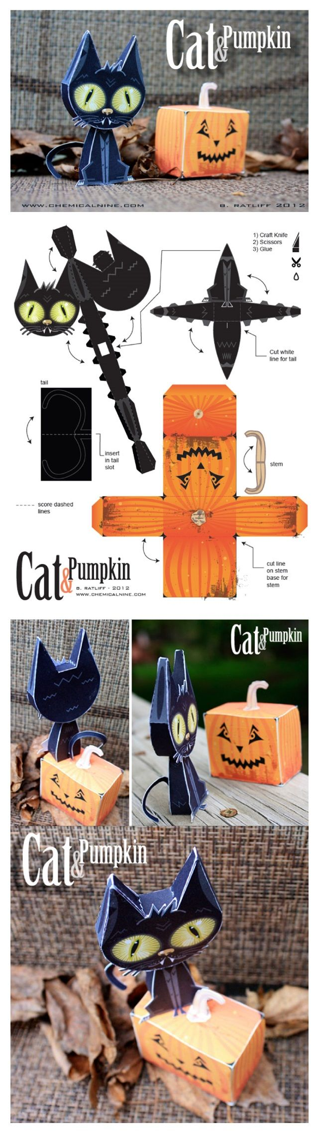 Cat and Pumpkin Paper Toys Alia Soufo