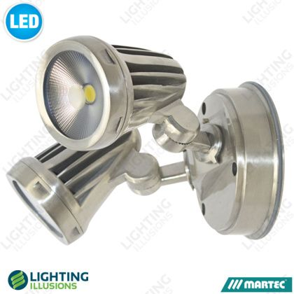 Brushed Nickel - Warm White Fortress 26W LED Double Adjustable Spotlight IP65 - Shop - Lighting Illusions Online FRONT DECK