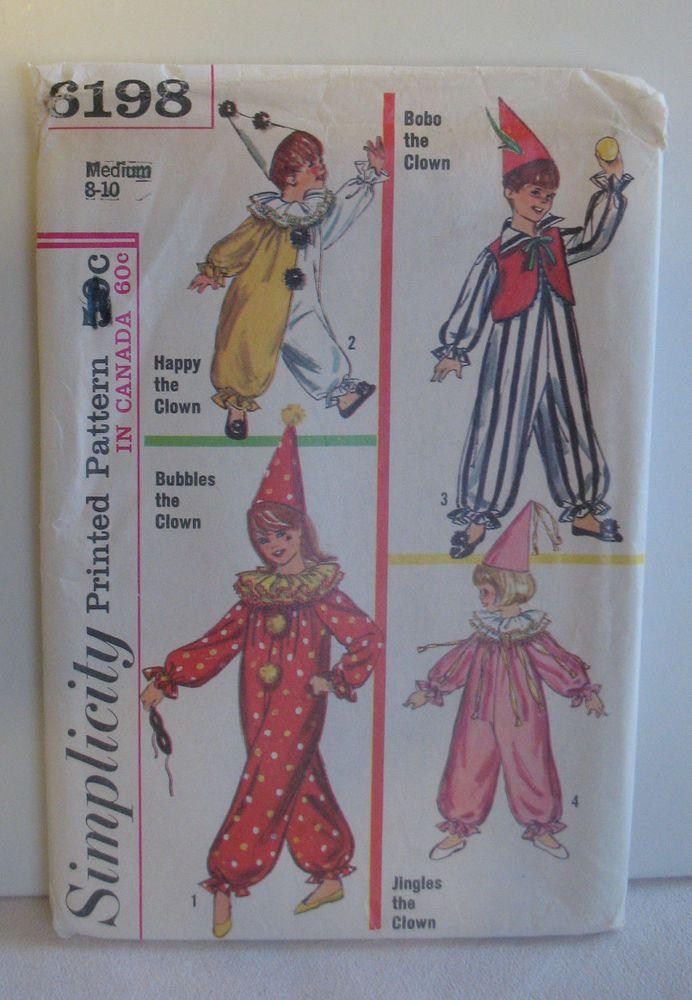 halloween clowns costume simplicity sewing patter 6198 children size 8 10 simplicity http - Ebaycom Halloween Costumes