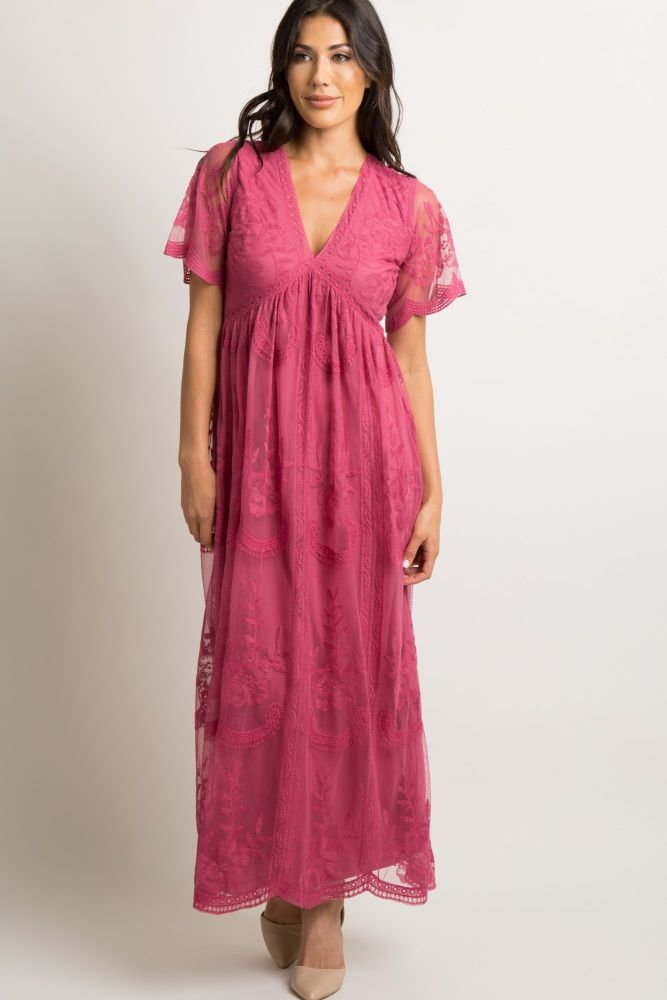 2d6502706dc Magenta Lace Mesh Overlay Maternity Maxi Dress