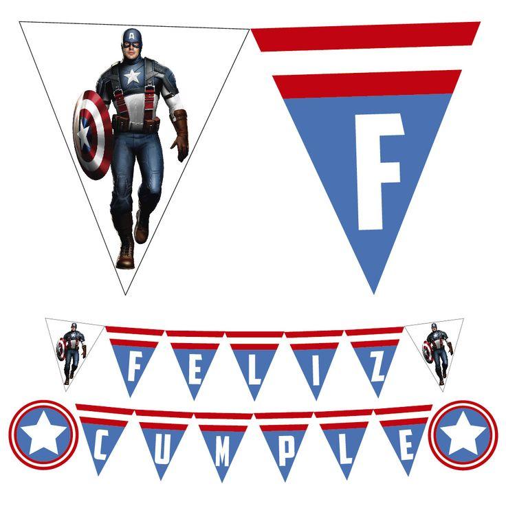 Banderin Cumpleaños Capitan America #capitanamerica #banderin #cumpleaños