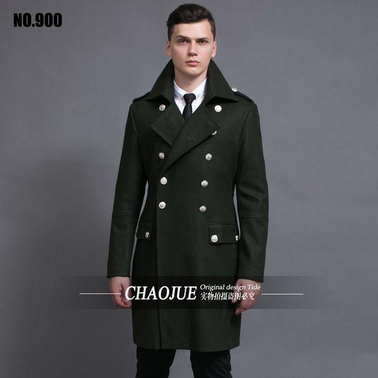 Дизайн мужские пальто и куртки S-6XL негабаритных высокий и большой мужчины зеленый шерстяные пальто германия армия флот бушлат бесплатная доставка