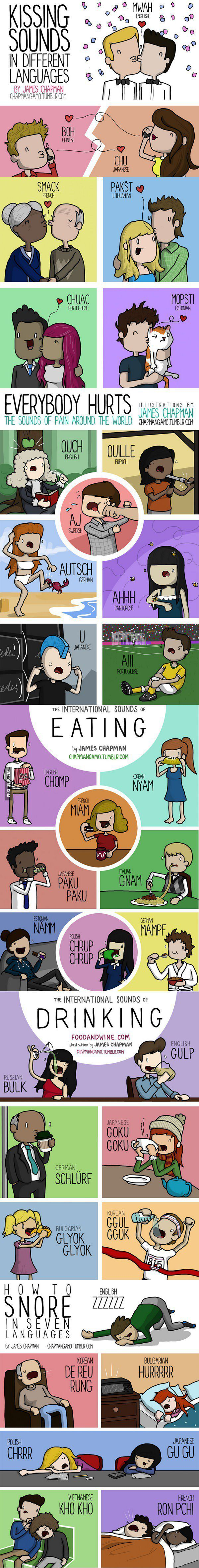 How Kissing, Eating, Drinking Snoring, Hurts and Other Things Sound In Different Languages