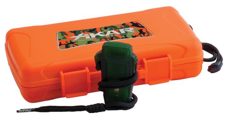 Xikar Gift Sets Blaze Orange Outdoorsman  includes a green butane Stratos lighter inside this 5 cigar travel case.