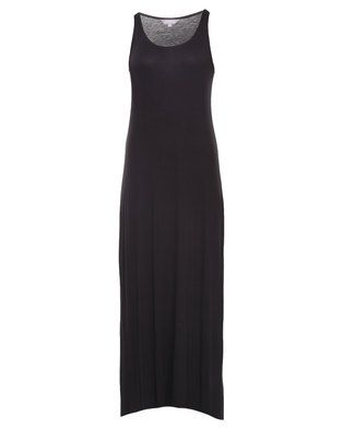 Slip into something fabulous with the Basic Maxi T-Shirt Dress by Utopia. Made with both comfort and style in mind, this understated yet trendy maxi boasts a soft woven textile construct in a plain black finish. It is sleeveless and features a rounded scoop neckline with hemmed-in seams, moderate width shoulder straps, roomy armholes, ankle length hemline and a relaxed fit that hugs the bust slightly while loosely draping over the hip and leg. Simple team it with sandals and a sun hat for a…