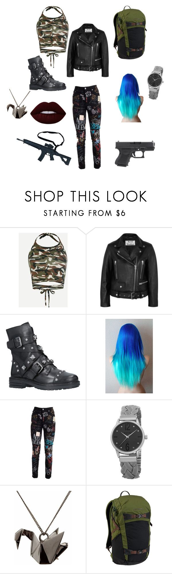 """""""Untitled #14"""" by bubblesbuttercupblossom on Polyvore featuring Acne Studios, Carvela, Dolce&Gabbana, August Steiner, Origami Jewellery, RIFLE, Burton and Lime Crime"""