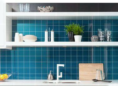 panneau-decoratif-pour-credence-cuisine-imitation-carrelage-couleur-bleu - Décoration Maison Idées Déco et Couleur Peinture par Pièce |Déco-Cool