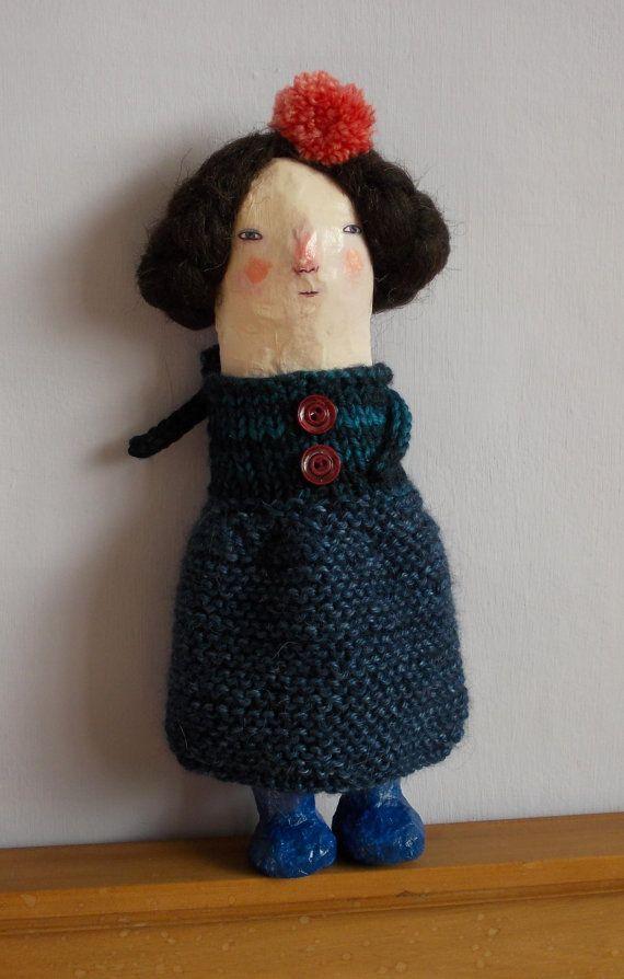 Megan mixed media Papier mache doll by maidolls on Etsy, £55.00