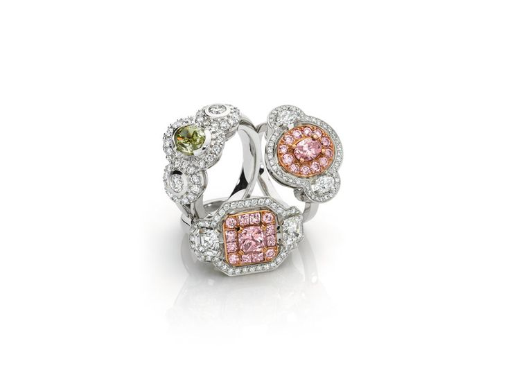 Pink diamond and fancy yellow diamond Rings, handcrafted by Giulians in-house jewellers.