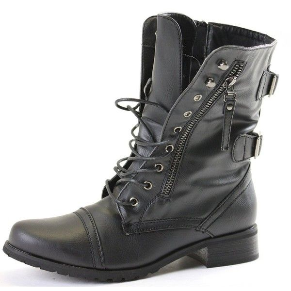 shoeFashionista Womens Ladies Military Style Army Combat Lace up Flat... ($18) ❤ liked on Polyvore featuring shoes, boots, ankle booties, sapatos, low heel boots, flat booties, flat ankle booties, booties and combat booties