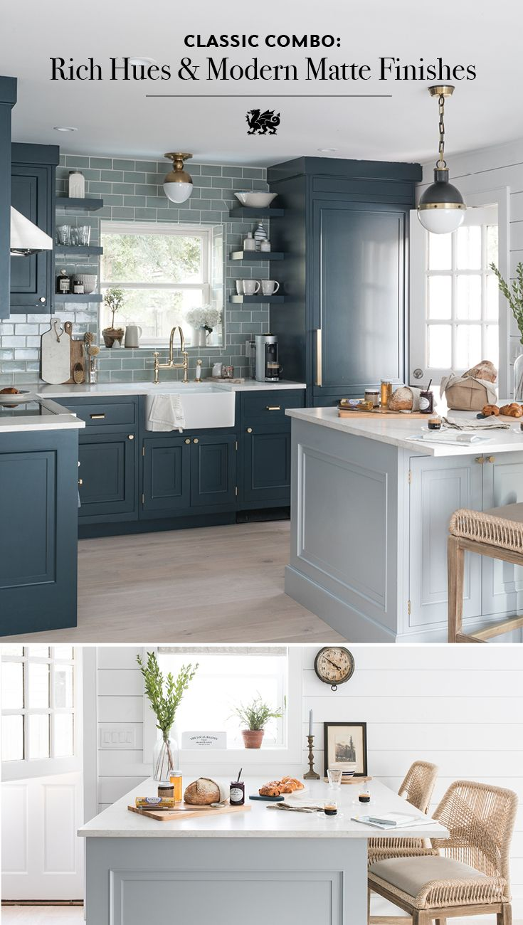 Rich Navy Cabinets Pair With Torquay Matte Countertops For A Coastal Look That S Both Interior Design Kitchen Small Kitchen Remodel Small Beach House Kitchens