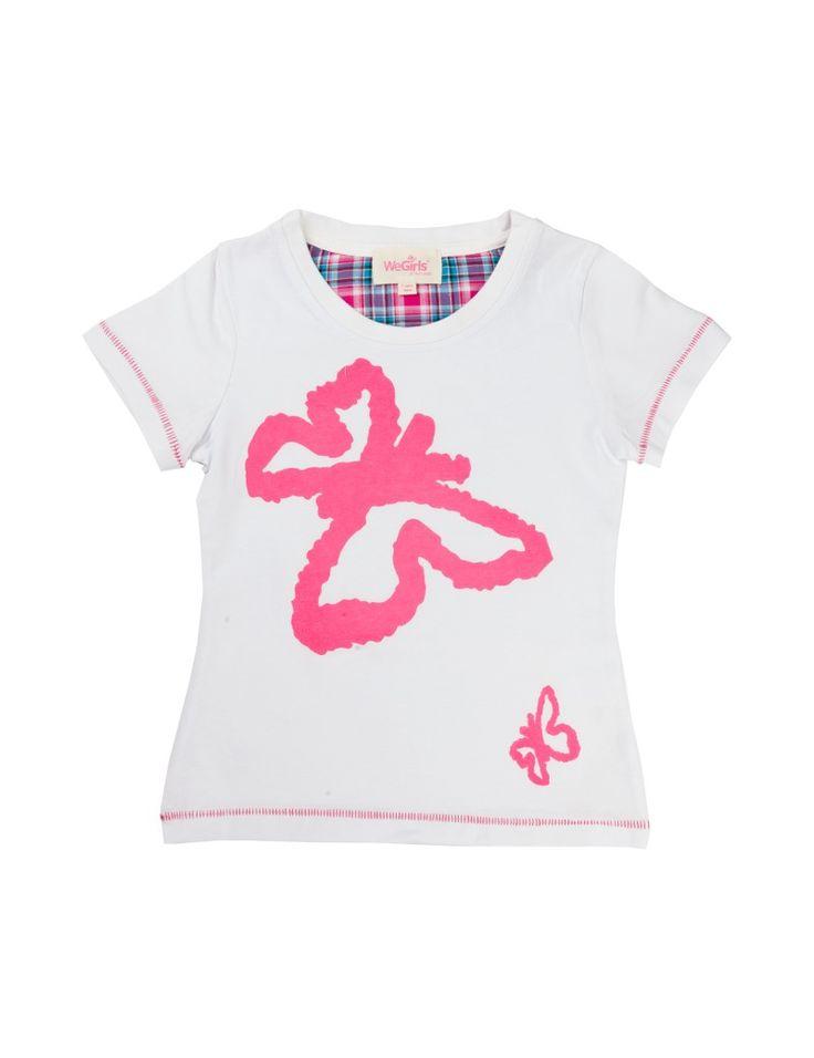 Biały T-shirt z motylkiem WeGirls dla dziewczynki - WeGirls