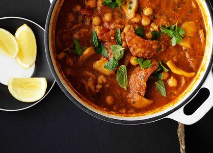 Australian Gourmet Traveller Spanish main recipe for cuttlefish and chorizo braised with chickpeas.