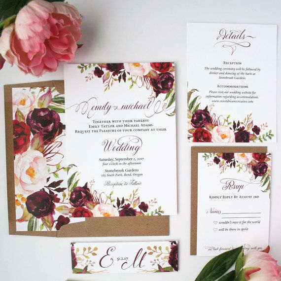 These Fall Wedding Invitations will help you set the tone for your rustic wedding. Give your guests an amazing first impression of your special day. This invitation suite features lovely watercolor florals and leaves paired with a beautiful elaborate script font. The suite has the options of an invitation, rsvp card, details cards, belly band and envelope liners. Wording can be customized to fit the needs of your wedding.  ♥ SAMPLE SET ♥  Would you like to see this invitation set in person…