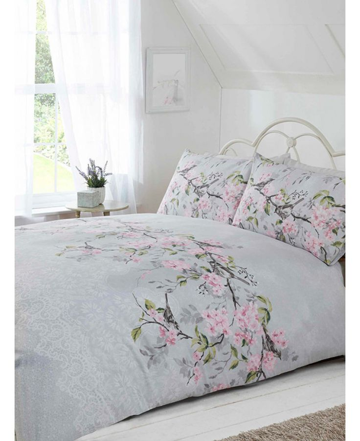 Eloise Floral Double Duvet Cover and Pillowcase Set - Grey
