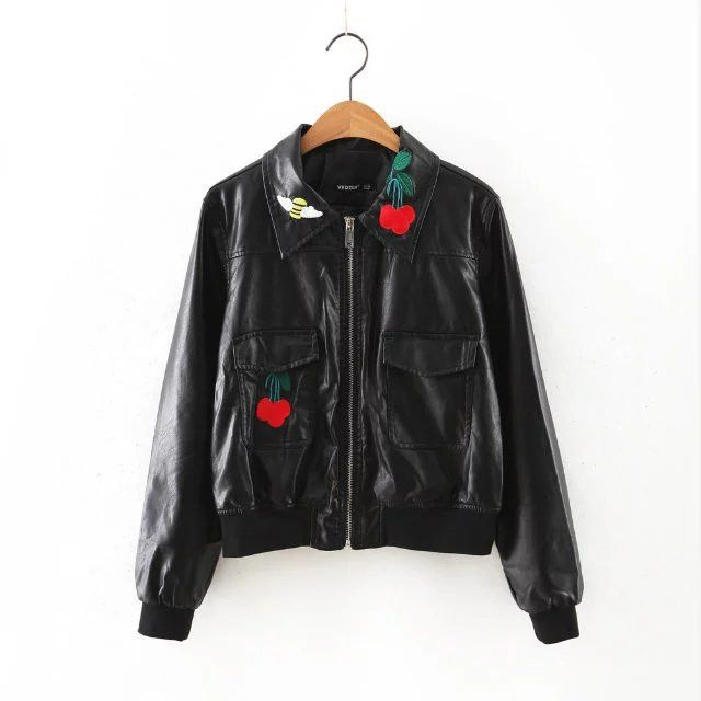 New Women Short Leather Jacket Cherry Embroidery turn-down collar pocket Ladies Leather Bomber Jacket Women Coats